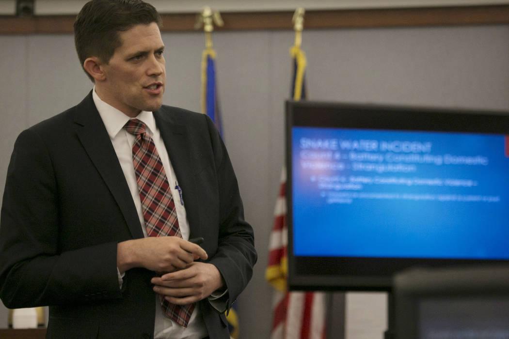 Chief Deputy District Attorney Rob Stephens makes closing statements at the Regional Justice Center on Thursday, March 16, 2017, in Las Vegas. (Bridget Bennett/Las Vegas Review-Journal) @bridgetkb