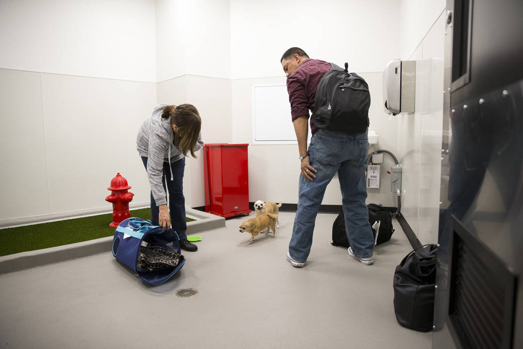 Nelva Rasalan, left, and her husband Joseph with their three pet chihuahuas inside the newly opened indoor pet relief room at McCarran International Airport Terminal 1 on Thursday, March 16, 2017, ...