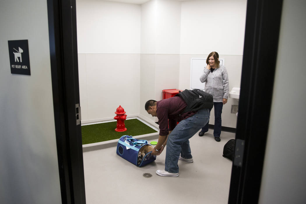 Joseph Rasalan, left, and his wife Nelva with their three pet chihuahuas inside the newly opened indoor pet relief room at McCarran International Airport Terminal 1 on Thursday, March 16, 2017, in ...