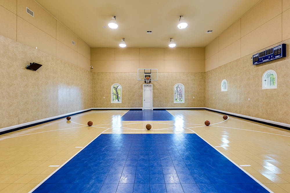 Million dollar homes with lavish sports courts photos for How many square feet is a basketball court