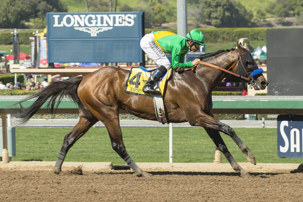 In a photo provided by Benoit Photo, Mastery and jockey Mike Smith win the Grade 2, $400,000 San Felipe Stakes horse race Saturday, March 11, 2017, at Santa Anita in Arcadia, Calif. Smith says sho ...