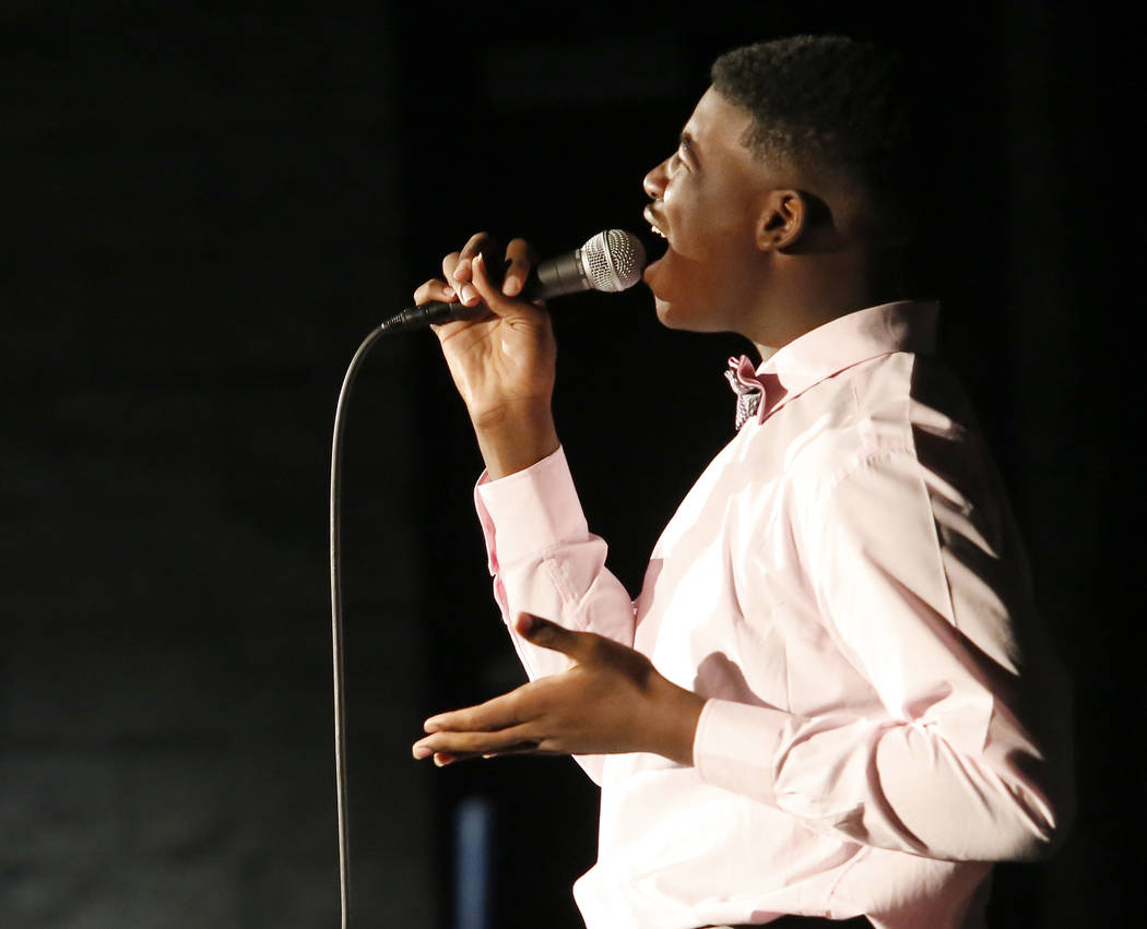 Jamir Coffee, 15, sings while competing in the Young Star singing competition at Cheyenne High School on Saturday, March 18, 2017, in Las Vegas. (Christian K. Lee/View) @chrisklee_jpeg
