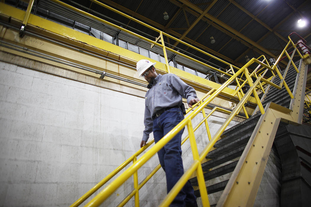 Plant Director Jason Hammons walks down the stairs at the turbine room at the Reid Gardner Generating Station on Thursday, March 16, 2017, in Moapa, Nev. (Rachel Aston/Las Vegas Review-Journal) @r ...