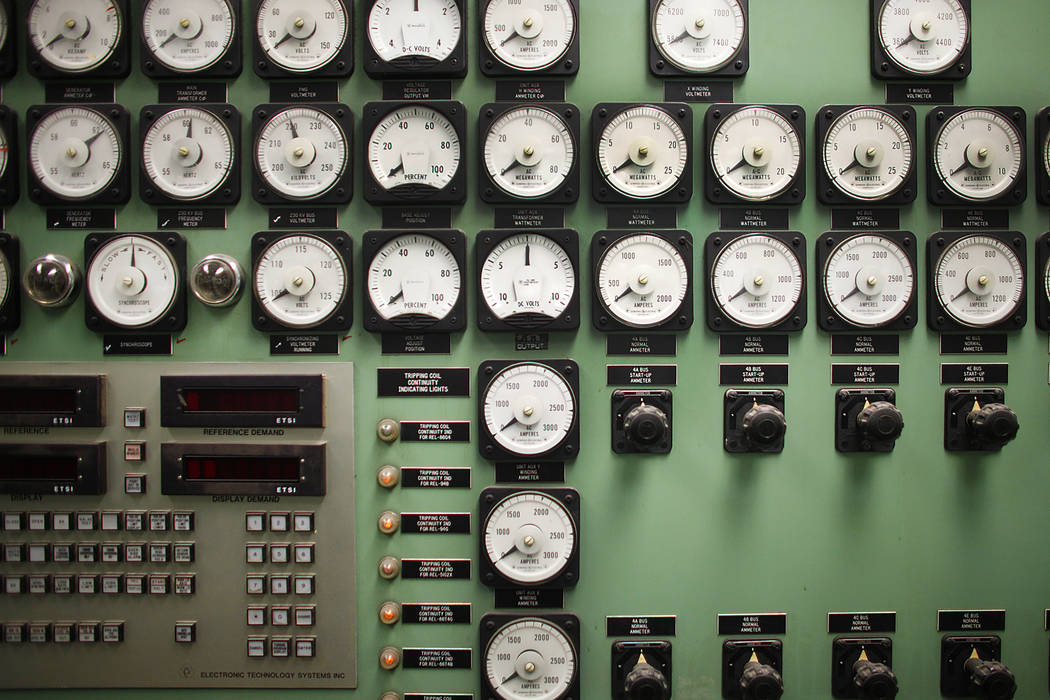 The control at the Reid Gardner Generating Station on Thursday, March 16, 2017, in Moapa, Nev. (Rachel Aston/Las Vegas Review-Journal) @rookie__rae