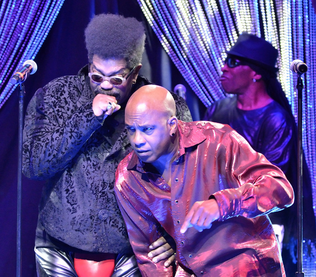 Larry Blackmon, left, and Tomi Jenkins of Cameo perform at the Westgate Las Vegas hotel-casino at 3000 Paradise Road on Thursday, March 10, 2016. (Bill Hughes/Las Vegas Review-Journal)