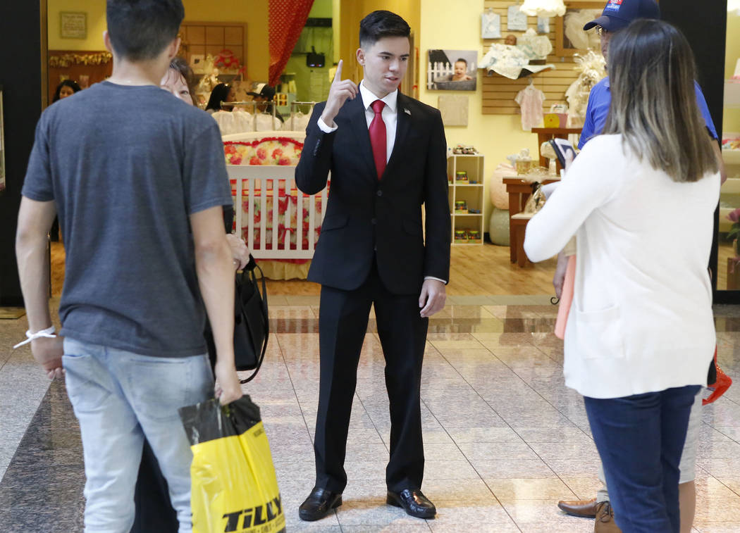 Henderson Mayor candidate Angelo R. Gomez, 19, after casting his ballot during early election day voting for the Clark County municipal election at the Galleria at Sunset mall on Saturday, March 1 ...