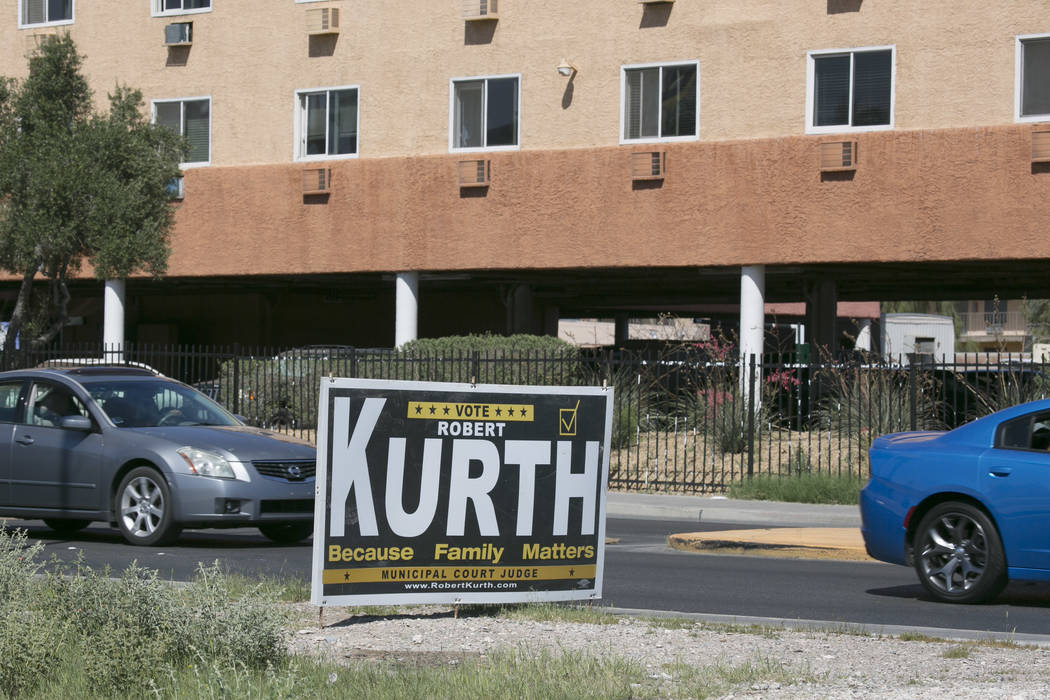 Local election signs pictured on Bonanza road near Las Vegas Boulevard on Friday, March 17, 2017, in Las Vegas. (Bridget Bennett/Las Vegas Review-Journal) @bridgetkb