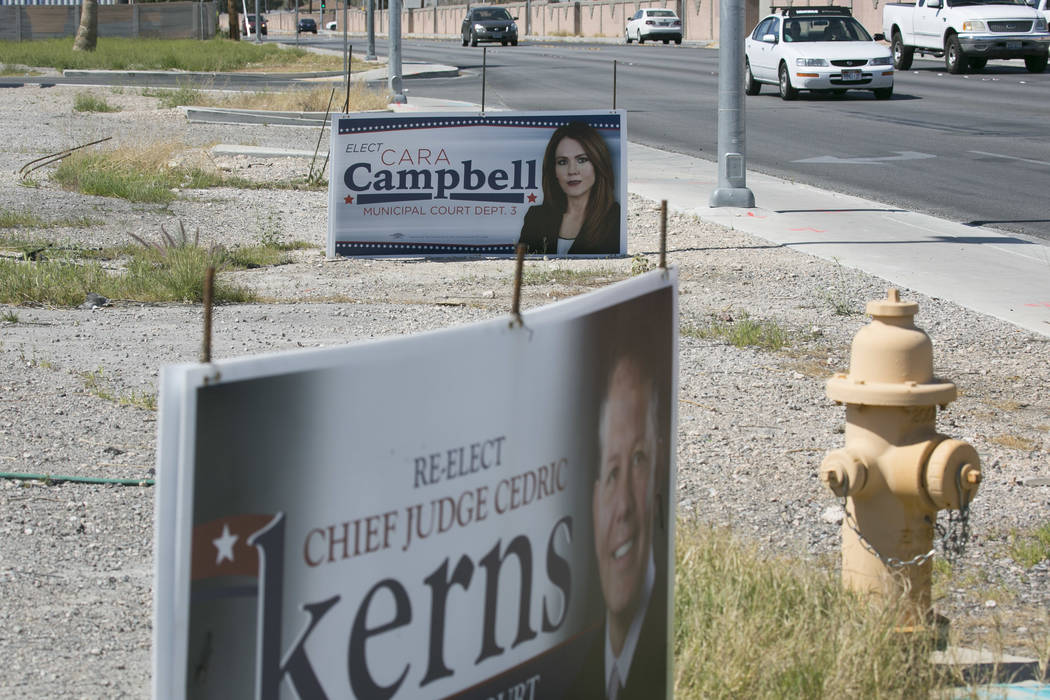 Local election signs pictured on MLK boulevard near Washington avenue on Friday, March 17, 2017, in Las Vegas. (Bridget Bennett/Las Vegas Review-Journal) @bridgetkb
