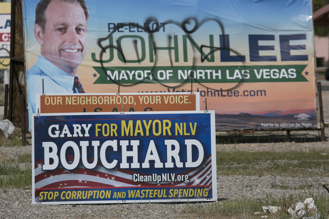 Local election signs pictured on MLK Boulevard near West Carey Avenue on Friday, March 17, 2017, in Las Vegas. (Bridget Bennett/Las Vegas Review-Journal) @bridgetkb