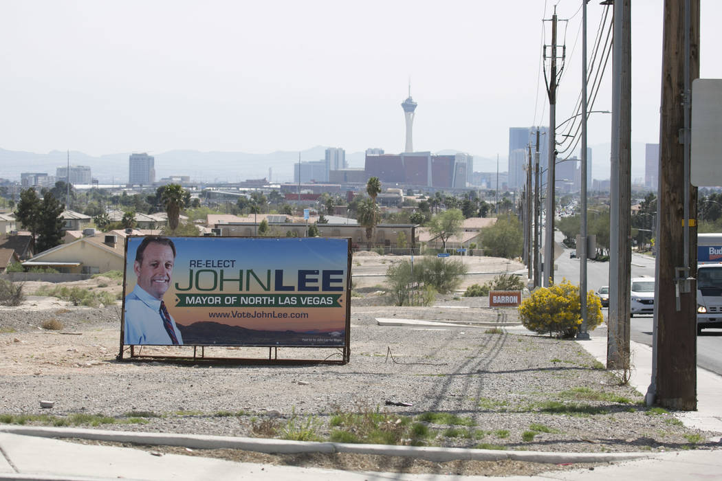 Local election signs pictured on MLK Boulevard near West Cheyenne Avenue on Friday, March 17, 2017, in Las Vegas. (Bridget Bennett/Las Vegas Review-Journal) @bridgetkb