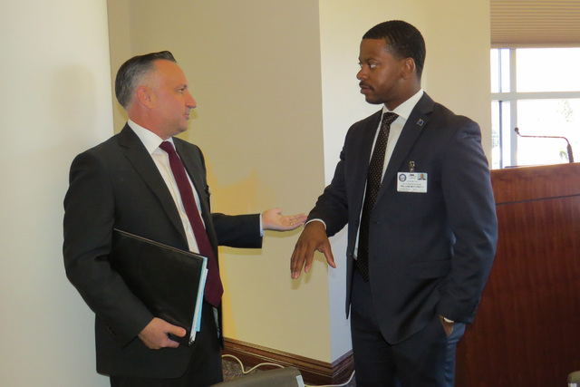 Incoming Nevada Assembly members Chris Brooks, left, and William McCurdy II talk during a break at orientation for freshman Nevada lawmakers on Friday, Nov. 18, 2016 at the Legislature Building in ...