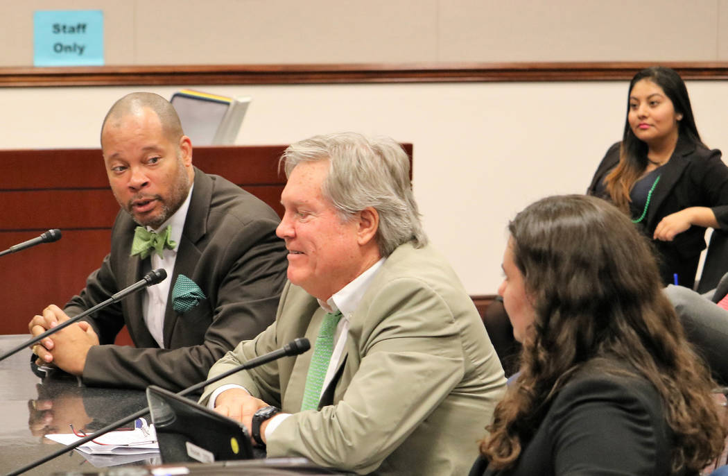 Sen. Majority Leader Aaron Ford, D-Las Vegas, left, tells Senate Government Affairs that he likes SB174, which would rename McCarran International Airport after retired-Sen. Harry Reid, March 17,  ...