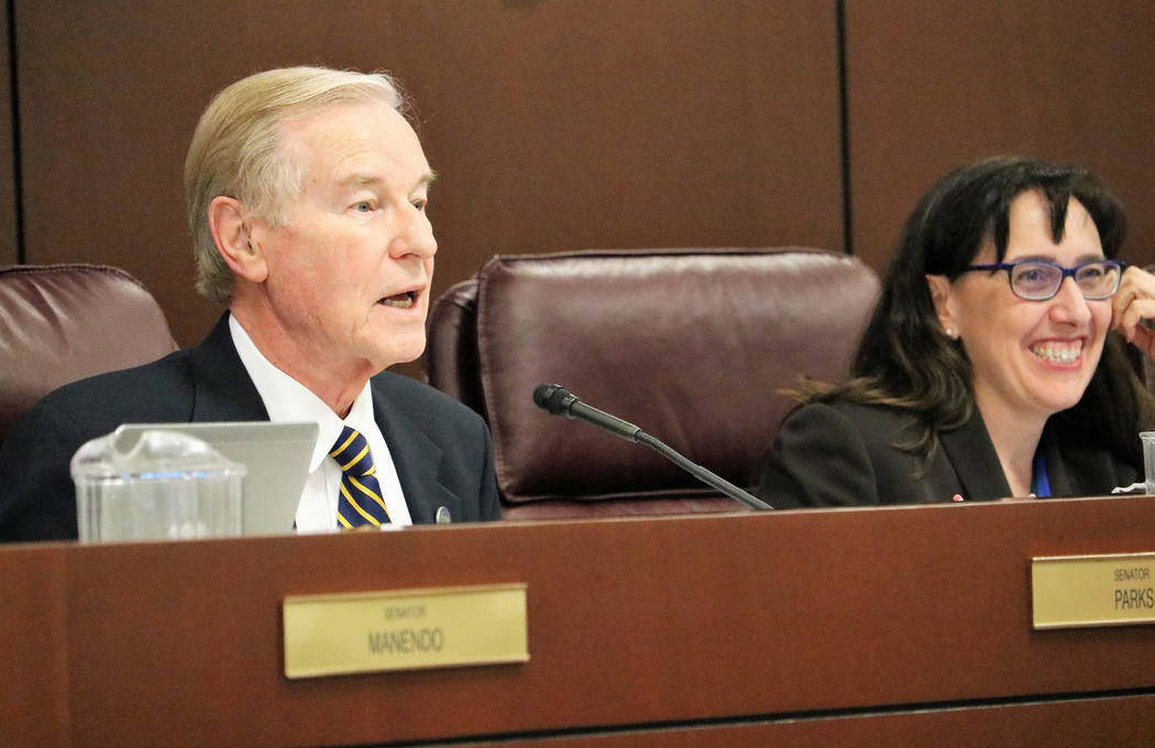Senate Government Affairs chair David Parks, D-Las Vegas, opens the hearing on SB174, which would rename McCarran International Airport after retired-Sen. Harry Reid, March 17, 2017, in Carson Cit ...