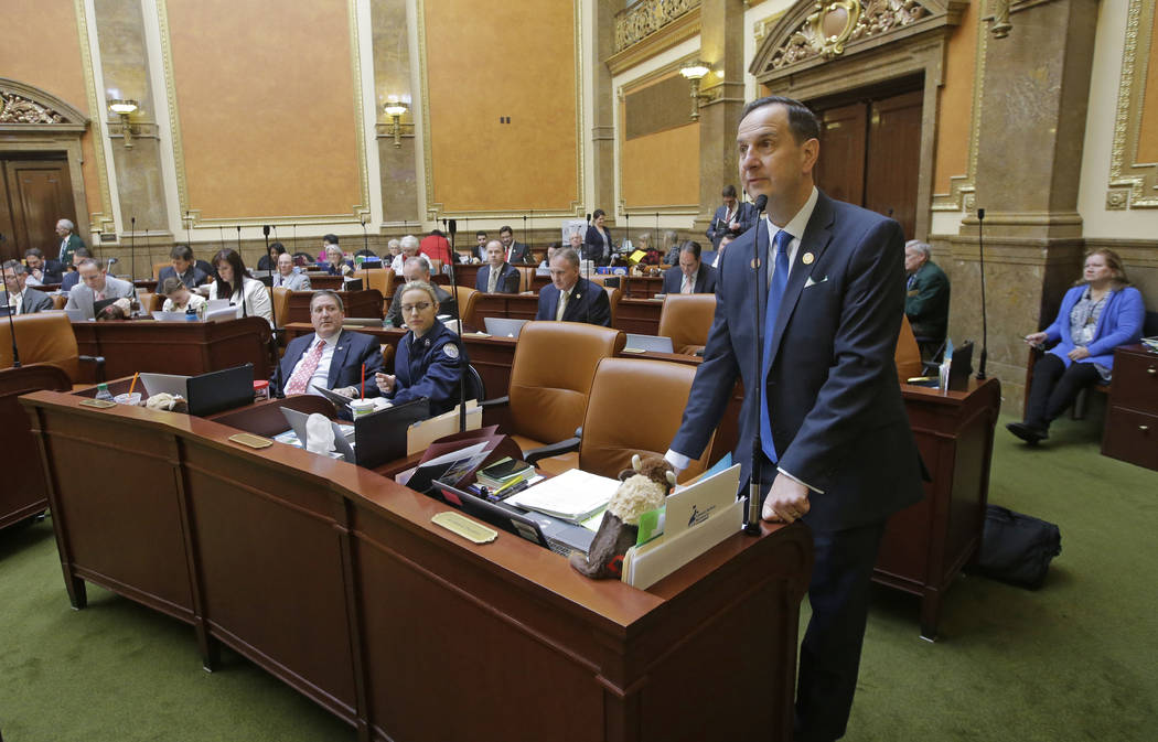 FILE - This Feb. 21, 2017, file photo, Rep. Norm Thurston, R-Provo, speaks on the House floor, at the Utah State Capitol, in Salt Lake City. Utah's hospitality industry is urging Gov. Gary Herbert ...