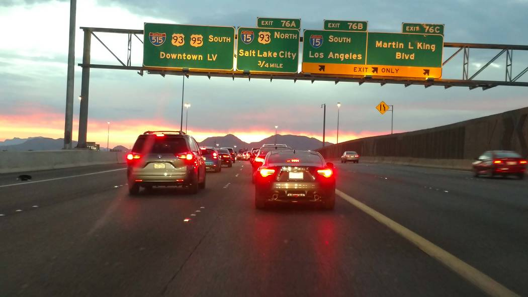 Traffic slows to a crawl in the eastbound lanes of U.S. Highway 95 at the Spaghetti Bowl on Tuesday, March 21, 2017. (Mark Davis/Las Vegas Review-Journal)