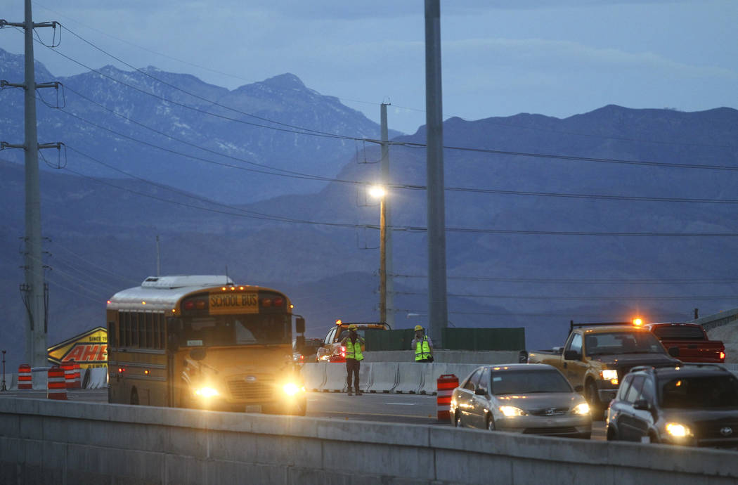 """Nevada Department of Transportation workers during the first morning of the """"Big Squeeze"""" along U.S. Highway 95 at the Spaghetti Bowl in Las Vegas on Tuesday, March 21, 2017. (Chase Stevens/Las Ve ..."""