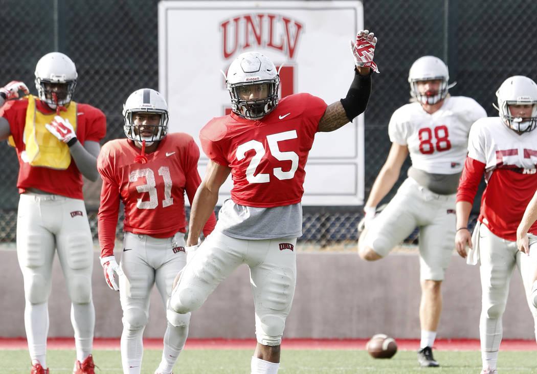 UNLV Rebels linebacker Gabe McCoy (25) stretches during team's practice on Monday, March 20, 2017, in Las Vegas. (Bizuayehu Tesfaye/Las Vegas Review-Journal) @bizutesfaye