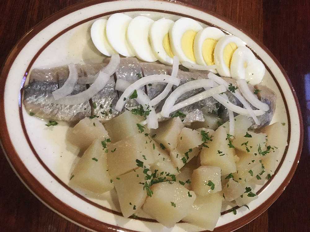 The herring appetizer at Cafe Mayakovsky comes with hard-boiled eggs, fish and potatoes and costs $6.95. (Brian Sandford/View) @nweditor