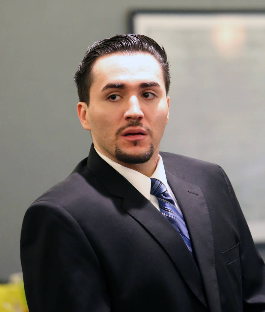 Javier Righetti appears at the Regional Justice Center Monday, March 20, 2017 during the penalty phase of his trial in Las Vegas. Righetti is facing the death penalty for the 2011 rape and murder  ...
