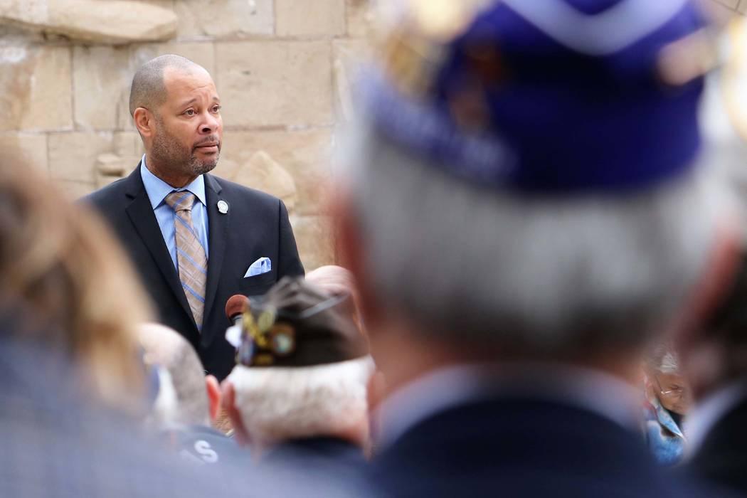 Sen. Majority Leader Aaron Ford, D-Las Vegas, speaks at Veterans and Military Day at the Legislature, Wednesday, March 15, 2017. (Victor Joecks/Las Vegas Review-Journal) @victorjoecks