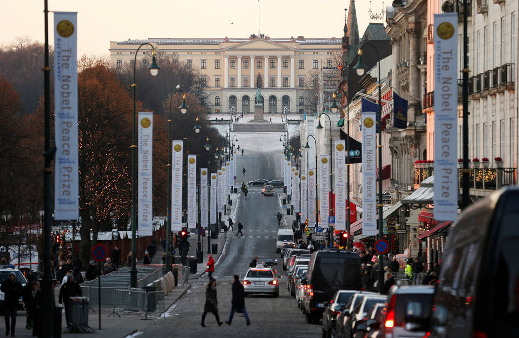 The Royal Palace is seen at the end of Karl Johans Gate in Oslo. (Suzanne Plunkett/Reuters)
