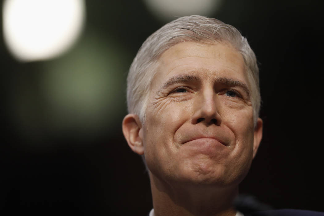 Supreme Court Justice nominee Neil Gorsuch arrives on Capitol Hill in Washington, Monday, March 20, 2017, for his confirmation hearing before the Senate Judiciary Committee. (Pablo Martinez Monsiv ...