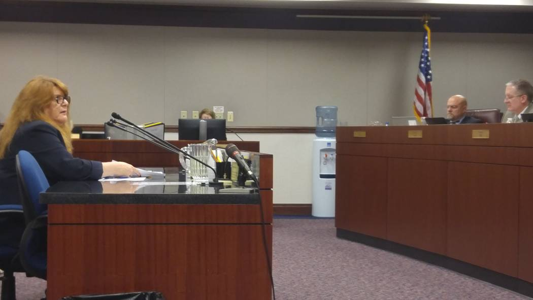 Assemblywoman Ellen Spiegel, D-Henderson, talks, Monday, March 20, 2017, to the Assembly Judiciary Committee about Assembly Bill 276 in Carson City. The bill allows employees to talk about their s ...