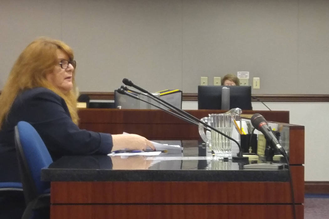 Assemblywoman Ellen Spiegel, D-Henderson, talks to the Assembly Judiciary Committee about Assembly Bill 276 on Monday, March 20, 2017, in Carson City. The bill allows employees to talk about their ...
