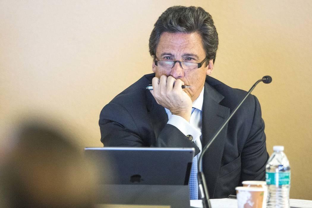 Bill Hornbuckle, president of MGM Resorts International, listens during a Southern Nevada Tourism Infrastructure Committee meeting. (Jeff Scheid/Las Vegas Review-Journal) @jeffscheid