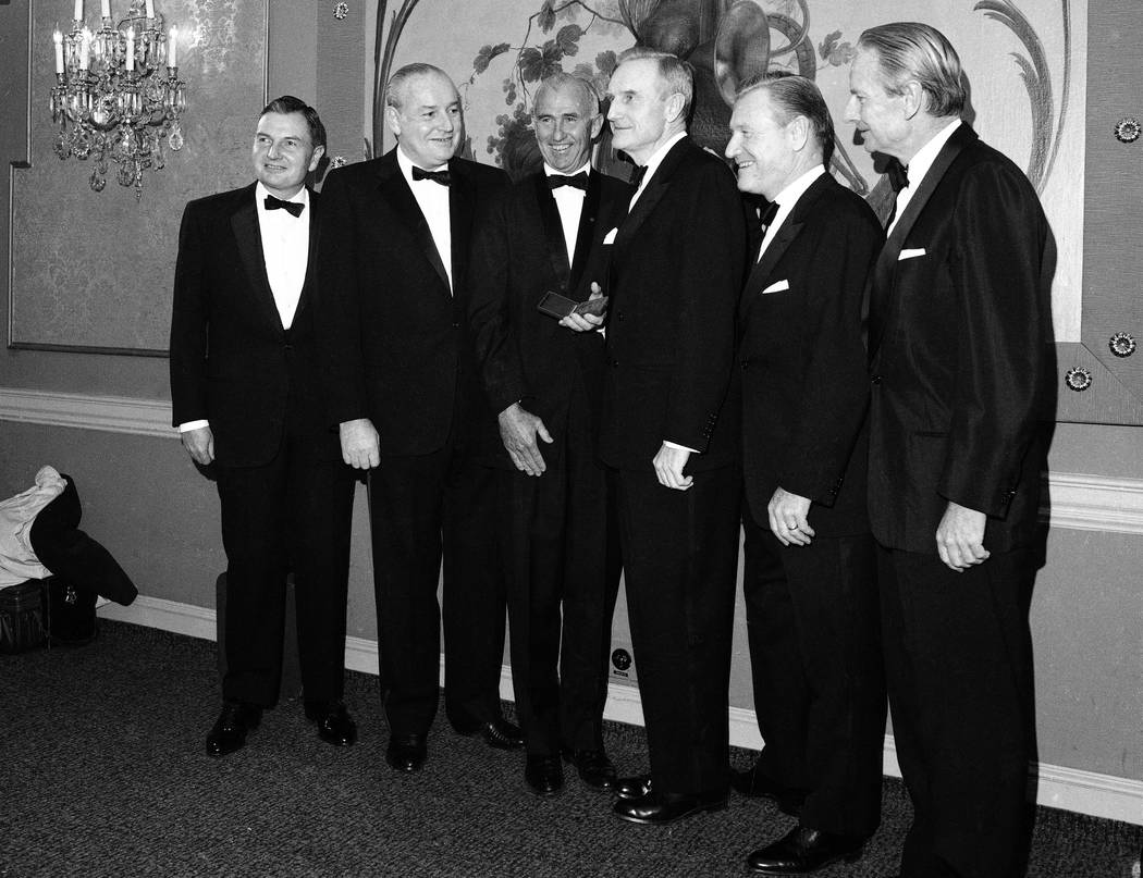 The five Rockefeller brothers pose for photos Nov. 28, 1967, in New York as they gather to receive gold medals from the National Institute of social sciences. From left are: David Rockefeller, Pre ...