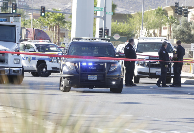 Police are investigating an officer-involved shooting after a Nevada Highway Patrol trooper shot a suspect Wednesday, Oct. 19, 2016, after a car chase in Henderson. Bizuayehu Tesfaye/Las Vegas Rev ...