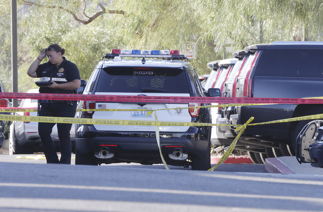 Police are investigating an officer-involved shooting afte a Nevada Highway Patrol trooper shot a suspect Wednesday, Oct. 19, 2016, after a car chase in Henderson. Bizuayehu Tesfaye/Las Vegas Revi ...