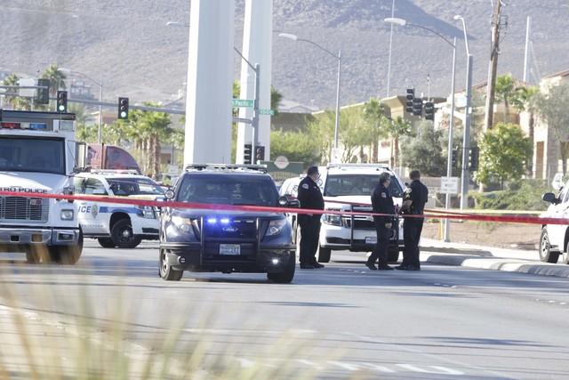Law enforcement activity on Gibson Road near Auto Show Drive in Henderson, Wednesday, Oct. 19, 2016. (Bizuayehu Tesfaye/Las Vegas Review-Journal Follow @bizutesfaye)