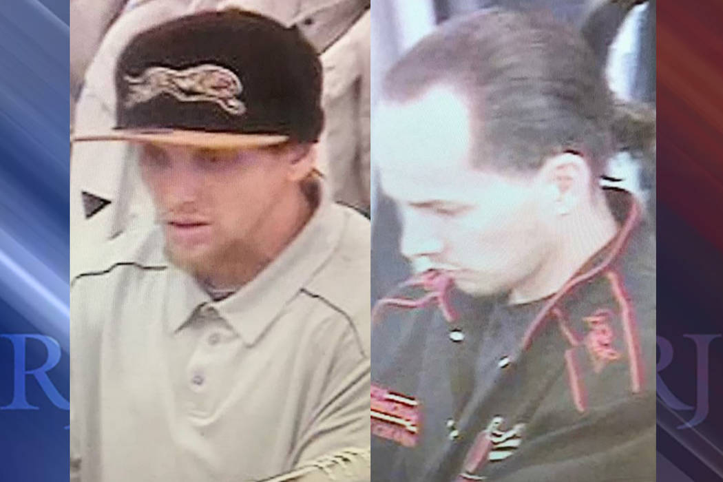 Las Vegas police need help finding and identifying two suspects connected to a robbery of a retail business on March 5, 2017. (Las Vegas Metropolitan Police Department)