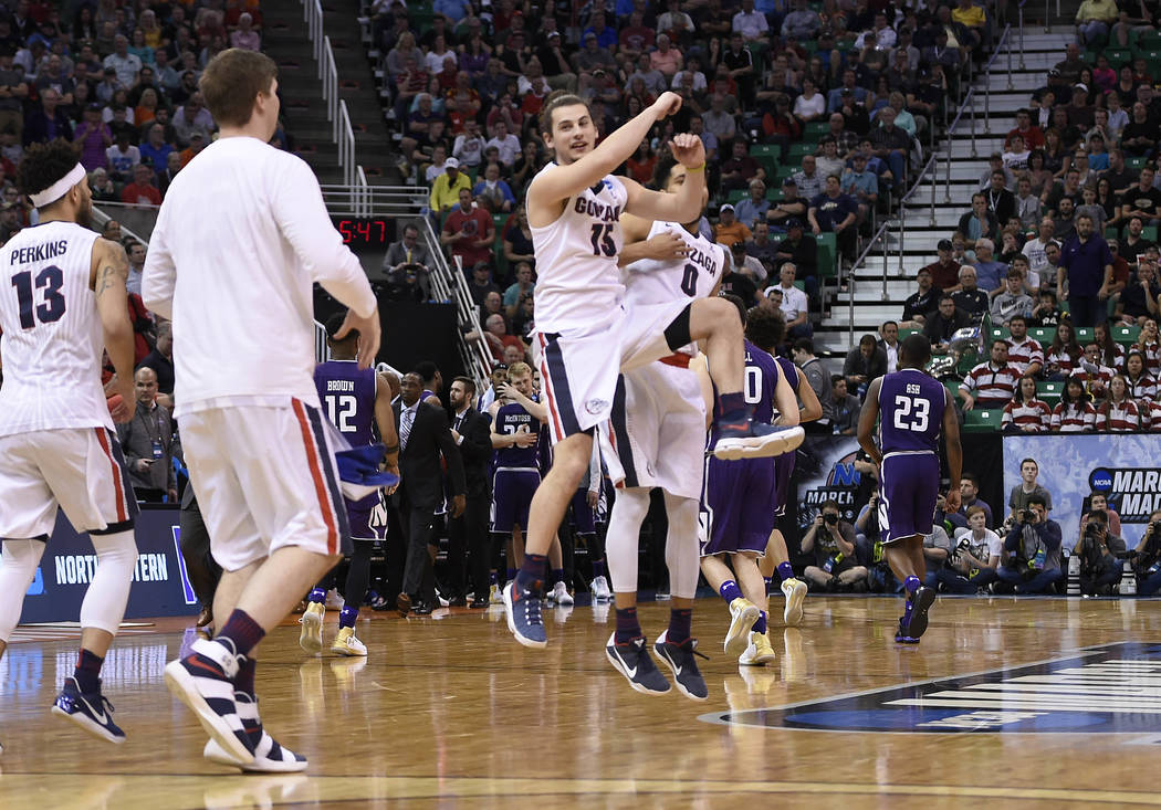 March 18, 2017; Salt Lake City, UT, USA; Gonzaga Bulldogs react following the 79-73 victory against the Northwestern Wildcats in the second round of the 2017 NCAA Tournament at Vivint Smart Home A ...