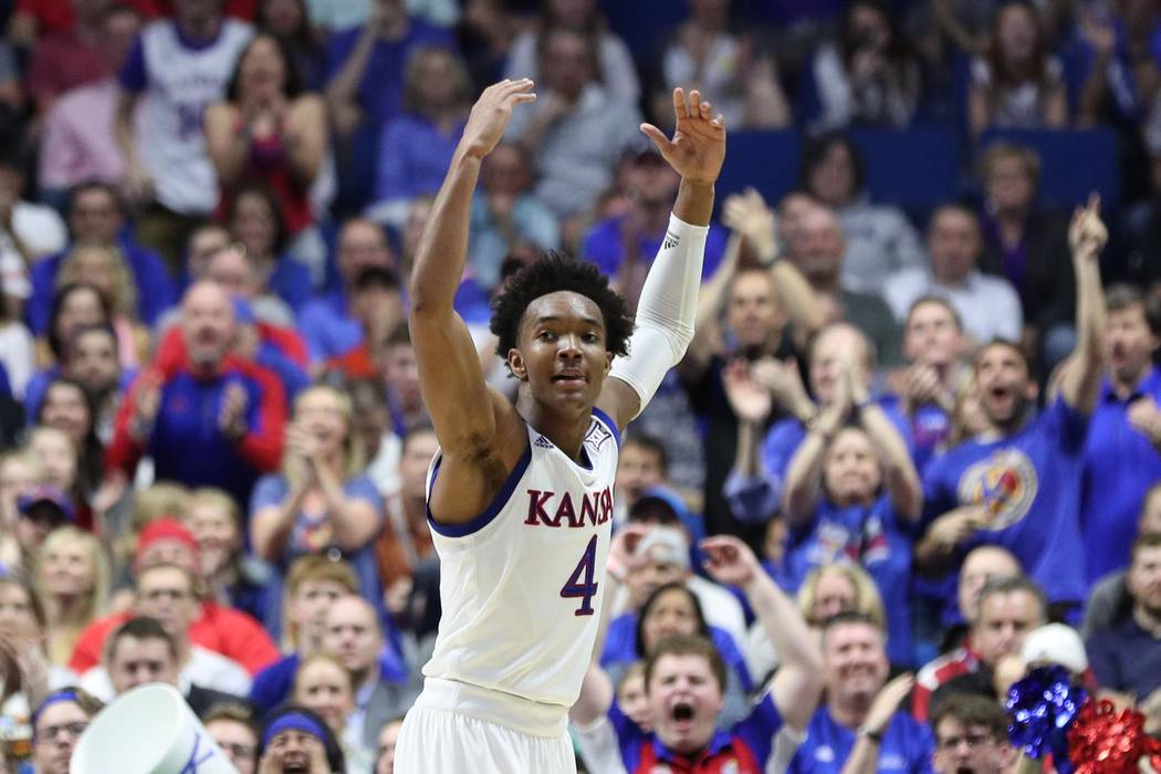 Mar 19, 2017; Tulsa, OK, USA; Kansas Jayhawks guard Devonte' Graham (4) reacts during the first half against the Michigan State Spartans in the second round of the 2017 NCAA Tournament at BOK Cent ...