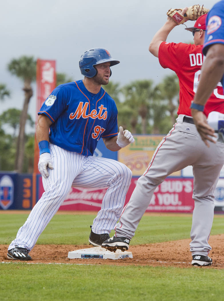 Tim Tebow doubled off first base after a line drive during a spring training baseball game against the Boston Red Sox in the sixth inning on Wednesday, March 8, 2017, at First Data Field in Port S ...