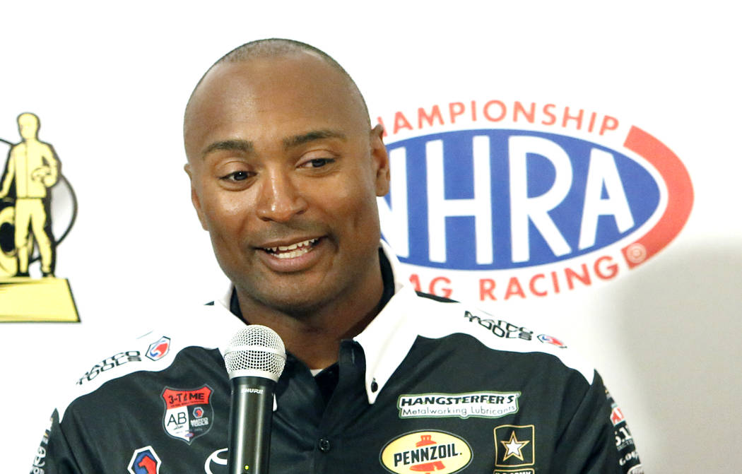 Antron Brown, driver of the Matco Tools Top Fuel dragster, during a press conference on Thursday, March 30, 2017, in Las Vegas. (Bizuayehu Tesfaye/Las Vegas Review-Journal) @bizutesfaye