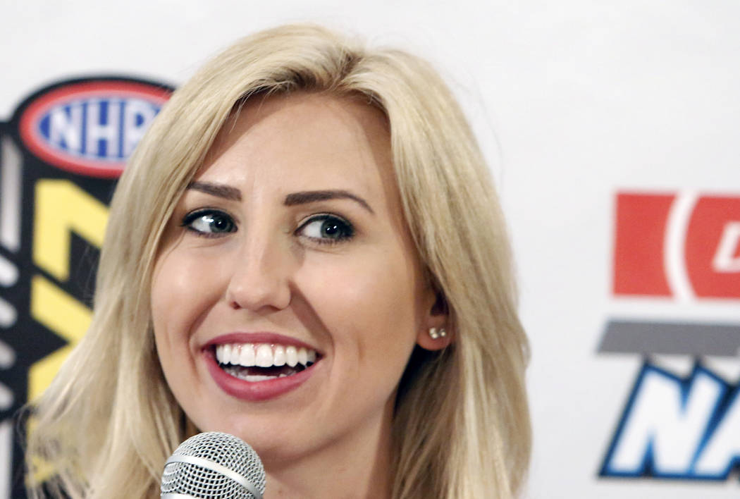 Courtney Force, driver of the Advance Auto Parts Chevy Camaro Funny Car, during a press conference on Thursday, March 30, 2017, in Las Vegas. (Bizuayehu Tesfaye/Las Vegas Review-Journal) @bizutesfaye