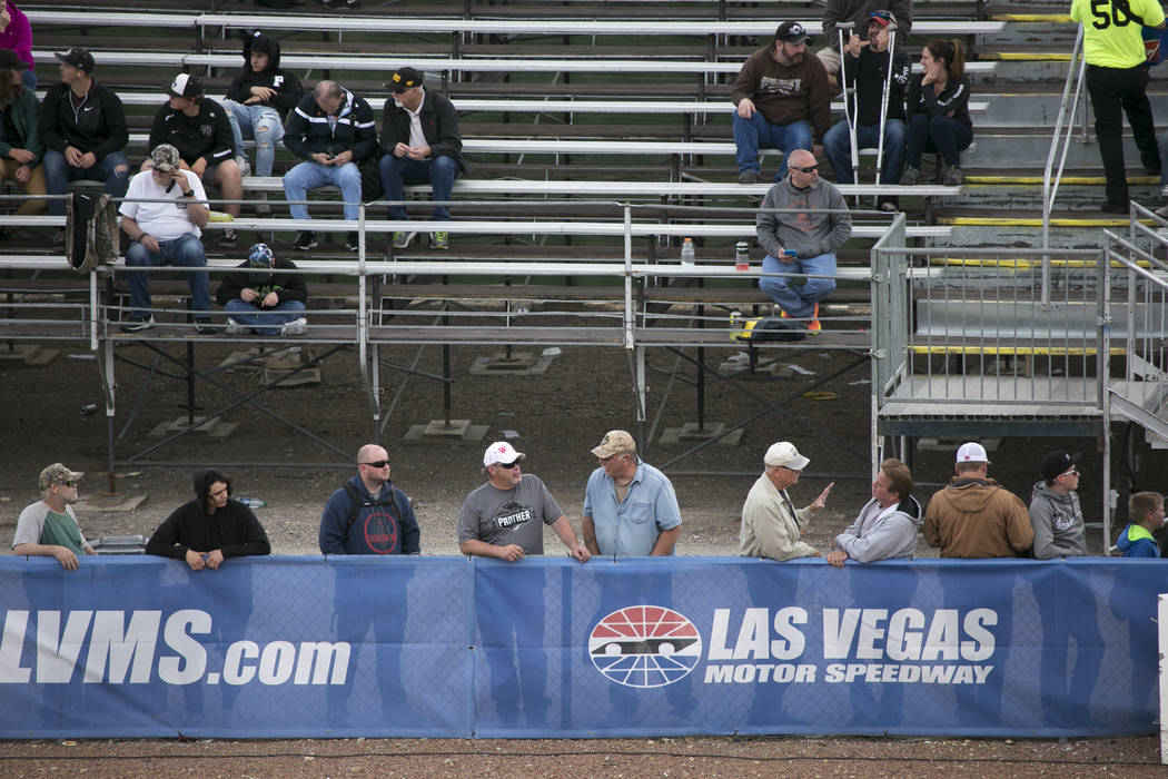 Fans watch National Hot Rod Association qualifying session at The Strip at Las Vegas Motor Speedway on Friday, March 31, 2017, in Las Vegas. (Bridget Bennett/Las Vegas Review-Journal) @bridgetkbennett