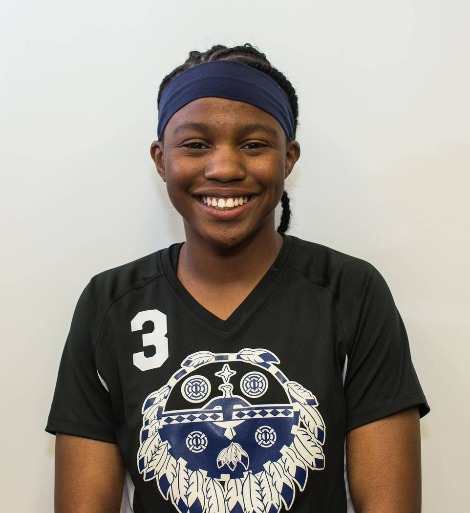 E'leseana Patterson, Cheyenne: The freshman threw for 1,597 yards and 23 touchdowns. She also ran for 1,212 yards and 12 scores to lead the Desert Shields to the Class 3A state title.