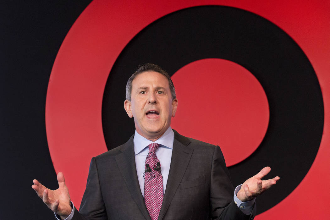 In this Wednesday, March 2, 2016, file photo, Target Chairman and CEO Brian Cornell speaks to a group of investors, in New York. On Monday, March 20, 2017, Cornell announced an ambitious redesign  ...