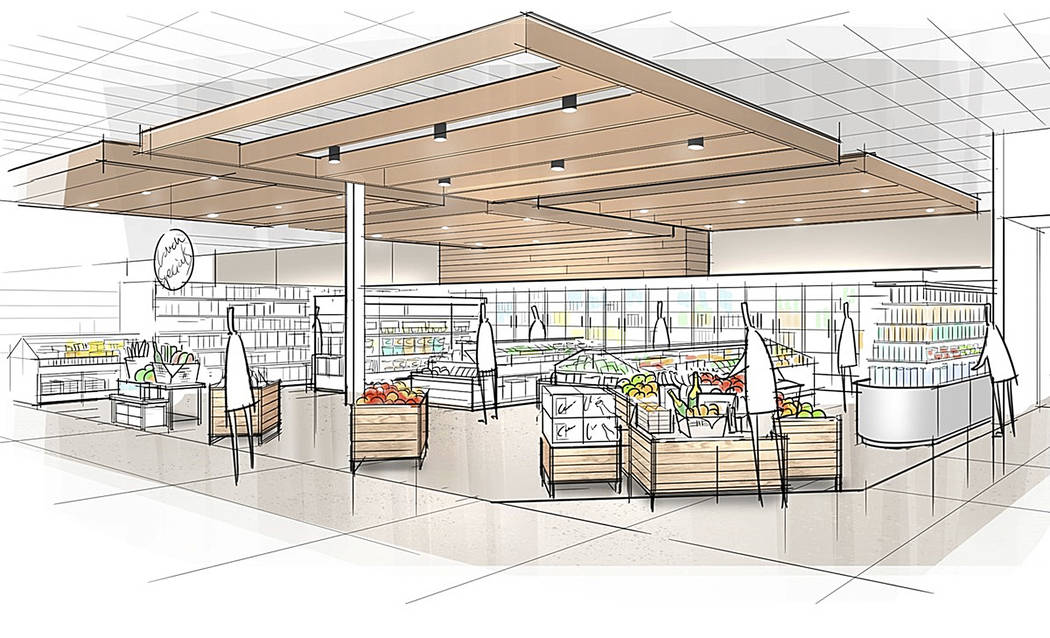 "This image provided by Target Corp. shows a rendering of an area of a redesigned Target store, featuring an ""ease"" entrance to the grocery section. (Target Corp. via AP)"