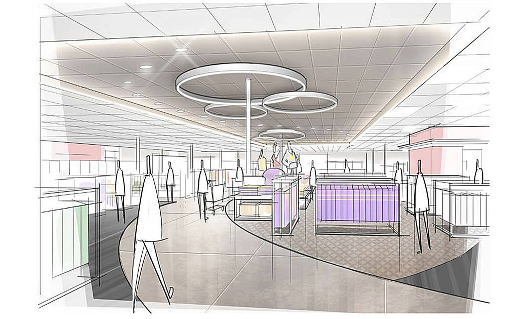 This image provided by Target Corp. shows a rendering of an area of a redesigned Target store featuring a curved center aisle, meant to inspire people to explore the merchandise. (Target Corp. via AP)