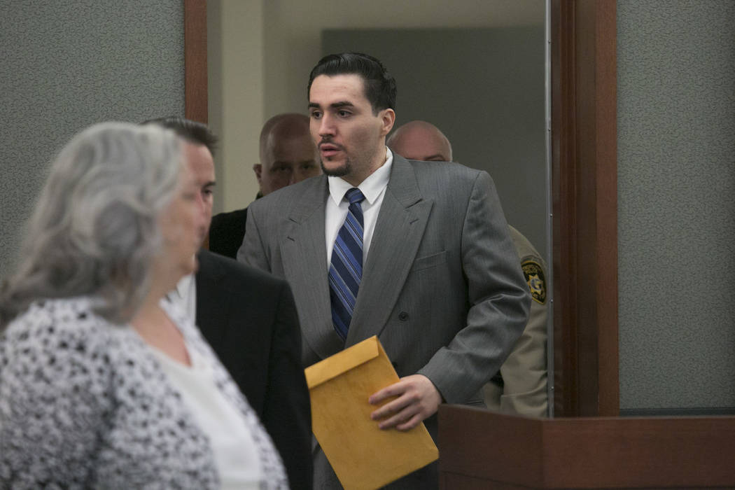 Javier Righetti enters the courtroom to hear his sentencing at the Regional Justice Center on Tuesday, March 21, 2017, in Las Vegas. Righetti was sentenced to death for rape and murder of 15-year- ...