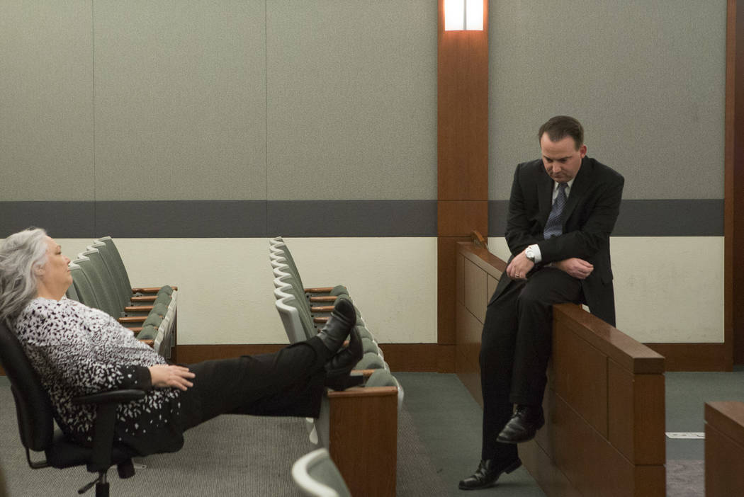 Deputy Public Defenders Christy Craig Deputy, left, and Ryan Bashor, right, wait to hear the sentencing for Javier Righetti at the Regional Justice Center on Tuesday, March 21, 2017, in Las Vegas. ...
