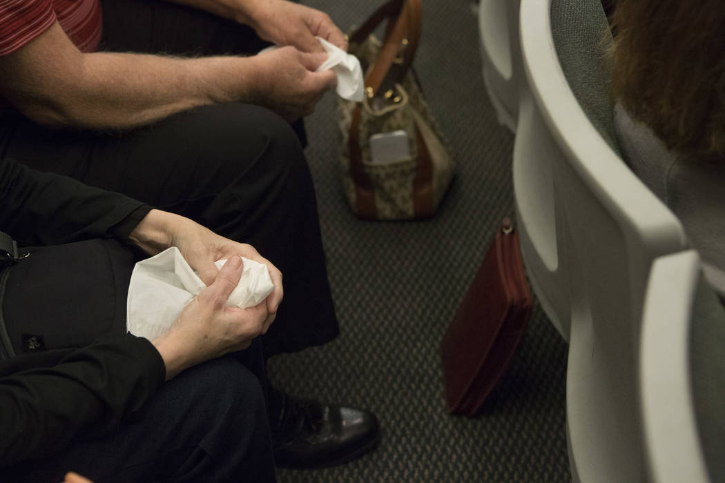 Tissues are held prior to hearing the jsentecing for Javier Righetti at the Regional Justice Center on Tuesday, March 21, 2017, in Las Vegas. Righetti was sentenced to death for rape and murder of ...