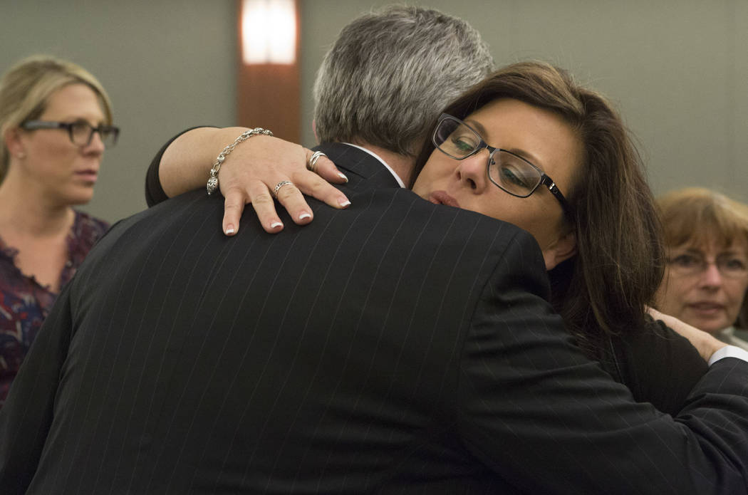 Jennifer Otremba hugs Chief Deputy District Attorney Giancarlo Pesci after Javier Righetti has been sentenced to death for rape and murder of her 15-year-old daughter Alyssa Otremba at the Regiona ...