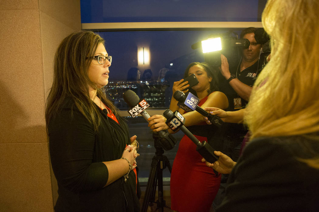 Jennifer Otremba speaks to reporters after Javier Righetti has been sentenced to death for rape and murder of her 15-year-old daughter Alyssa Otremba at the Regional Justice Center on Tuesday, Mar ...