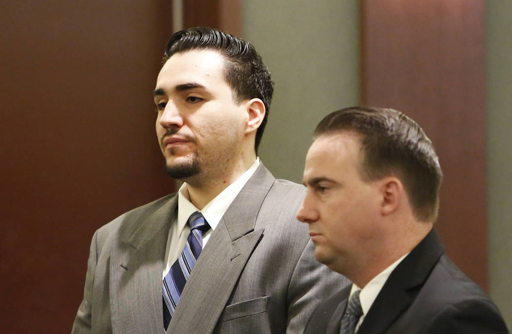 Javier Righetti, left, and his defense attorney Ryan Bashor watch as the jury enters the courtroom during the penalty phase of Righetti's murder trial at the Regional Justice Center on Tuesday, Ma ...